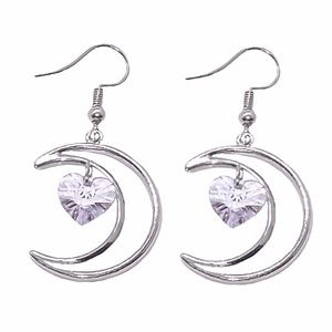 Silver Tone Crescent Moon Crystal Heart Earrings